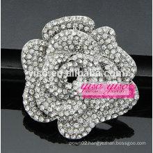 open rose crystal daisy flower brooch