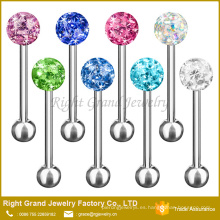 Fshion acero inoxidable recubierto de epoxi Disco Crystal Ball Tongue Rings
