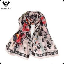 Женская оптом высокого качества череп печатных Шелковый шарф