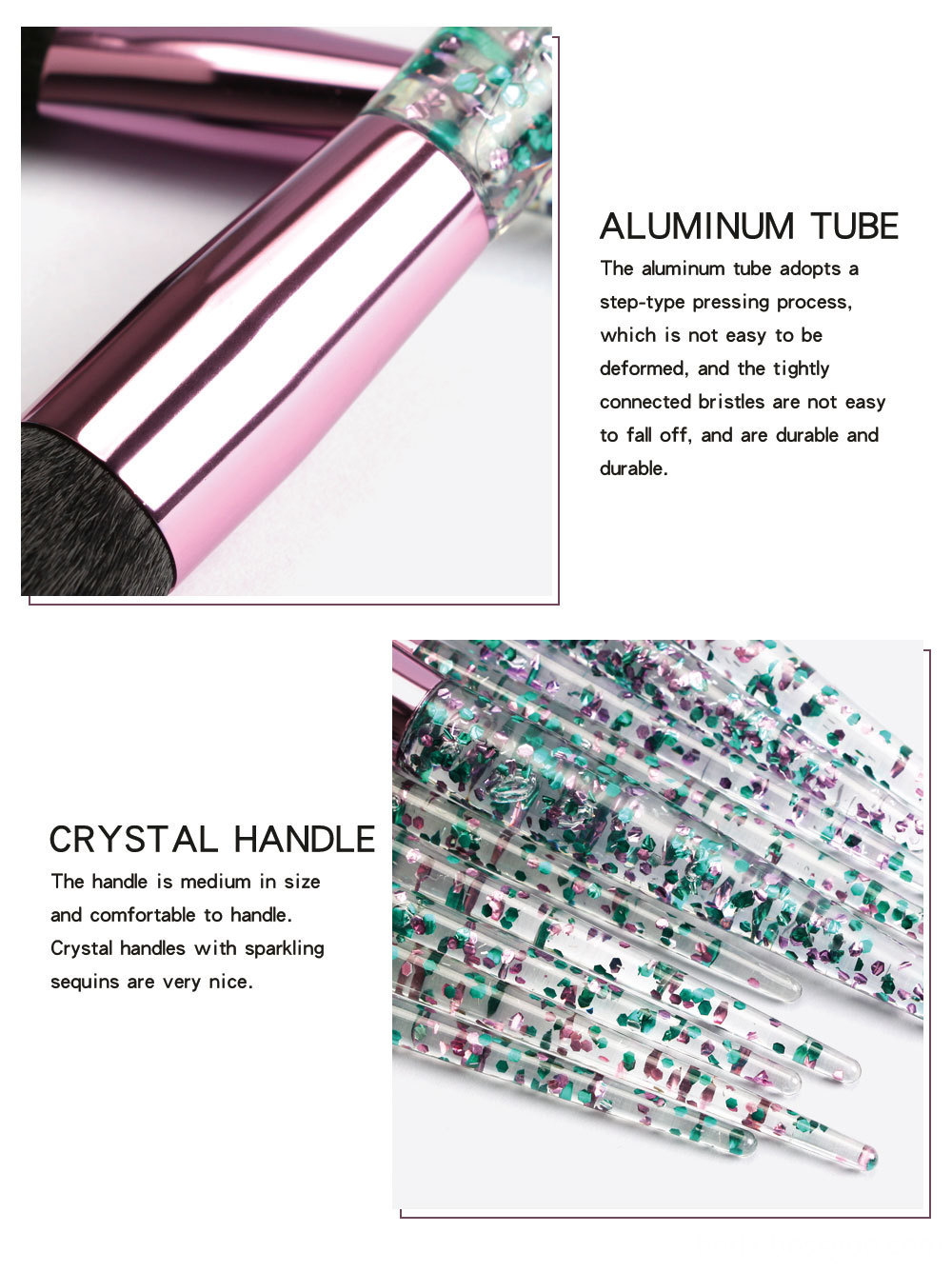 Crystal Rhinestone Makeup Brushes Set 3