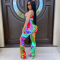 Color printed pleated suspenders jumpsuit A tight, elastic one-piece garment
