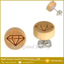 Brincos de madeira natural de 10mm brinco de madeira inacabado brincos de madeira por atacado