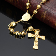 Gold Bead Chain Rosary Jesus Christ Cross Pendant