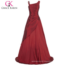 Grace Karin Fashion Elegant Women Taffeta Long Evening Dresses Burgundy CL6078