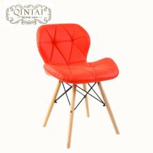 Оптовые роскошные кожаные сиденья обеденный стул PU лоскутное дерево ноги