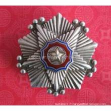 Insigne de police en couches en métal antique en argent antique (badge-095)
