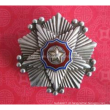 Metal de prata 3D antigo polícia em camadas emblema (badge-095)