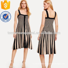 Contrast Striped Single Breasted Dress Manufacture Wholesale Fashion Women Apparel (TA3209D)