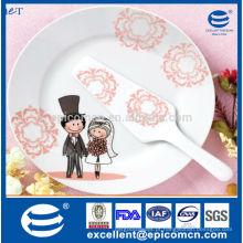"""STOCK chinaware casamento utensílio 2pcs 10,5 """"rodada bolo placa com espátula"""
