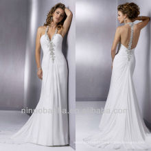 White Halter Sheath Sequin Chapel Train Chiffon Wedding Dresses bridal Gowns