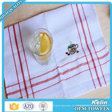 Serviette de thé de broderie, serviettes blanches de cuisine d'armure de gaufre de coton de 100%