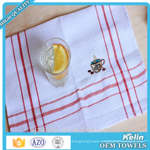 Embroidery Tea Towel,100% White Cotton Waffle Weave Kitchen Towels
