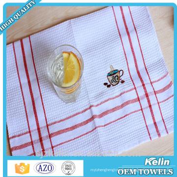 Toalha do chá do bordado, toalhas de cozinha brancas do Weave do Waffle do algodão de 100%