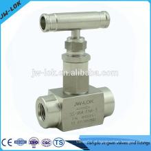 Válvula de agulha de controle de fluxo de aço inox