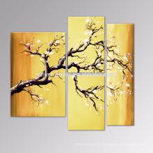 Pinturas da lona da flor da ameixa / arte finala Handmade da flor do grupo / decoração moderna da arte da parede