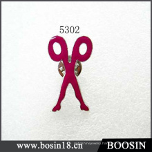 Red Scissor Metal Brooch #5302