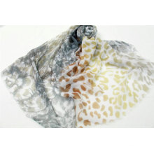 polyester voile leopard print and flower print combination high quality scarf sublimation scarf