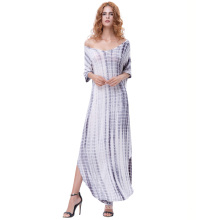 Kate Kasin Womens Casual Loose Bequeme kurze Ärmel V-Neck Tie Dye Maxi Kleid KK000701-1