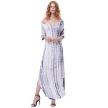 Kate Kasin Womens Casual Loose Comfortable Short Sleeve V-Neck Tie Dye Maxi Dress KK000701-1
