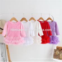 красочные с длинным рукавом 100% хлопок младенческой romper младенца платье цветок розы кружева туту romper младенца