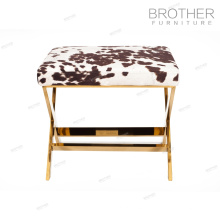 Best design bedroom fabric stool stainless steel frame ottoman stool