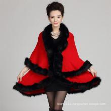 Women Fashion Acrylic Knitted Faux Fur Winter Shawl (YKY4464)