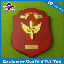 Escudo de madera personalizado Cast Metal Souvenir Gold Plated Plaques Trophy