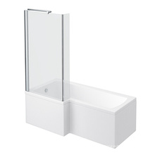 Milan Shower Bath - 1500mm L Shaped with Fixed Screen & Panel