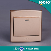 British Standard 3 * 3 Interruptor de pared de oro de 1 Gang