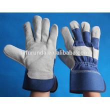Gants en cuir fendus à la vache bleue de 10,5 pouces avec paume complète pour la promotion