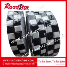Blanco azul relieve prismático cinta reflectante de PVC checker para policía