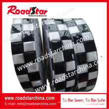 Blue white emboss checker Prismatic reflective PVC tape for police