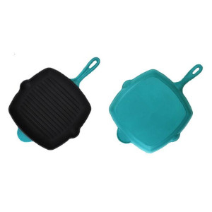 Factory direct square enamel cast iron grill pan