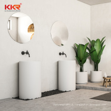 shenzhen modern cylinder solid surface stone marble resin full bathroom free standing pedestal sink with single hole