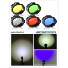 Multi-couleur vert / rouge / jaune / bleu / blanc givré C8 45 mm filtre à lentille torche