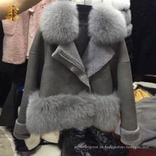 Preço por atacado da fábrica China Supplier Leather Fox Collar Fur Coat