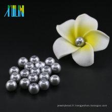 YIWU Stock en vrac 6mm à 14mm Imitation Perle UA34 Matte Perle En Verre Argent Perles En Gros