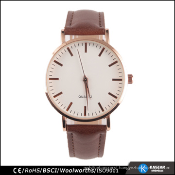 unisex quartz watch stainless steel case back, PU material watch band