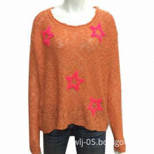 Ladies' sweater in 5G, 100% acrylic boucle yarn, with start boucle embroidery