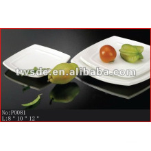 Restaurant tableware durable white porcelain square dinner plates(No.P0081)