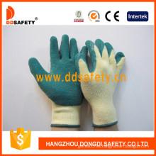Algodón / Poliéster Liner Crinkle guantes de látex (DKL324)