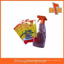 Etiqueta de encolhimento de PVC / etiqueta de manga de encolhimento de PET personalizadas para garrafa de produtos de limpeza