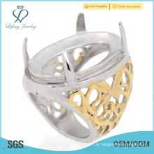 Imagem quente nova do anel de indonésia do retrato do hollw do aço inoxidável do ouro amarelo