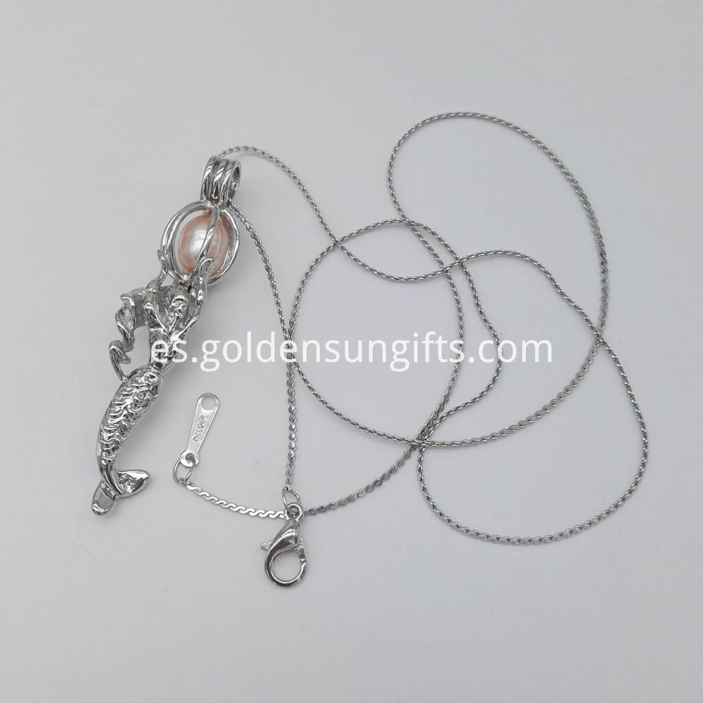 Mermaid Shaped Cage Pendant Necklace