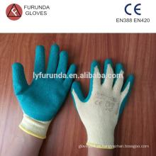 Luvas de polycotton com revestimento de palma de látex, luvas de mão industriais