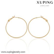 92077-Xuping Jóias Fashion Popular Hoop Earrings com banhado a ouro