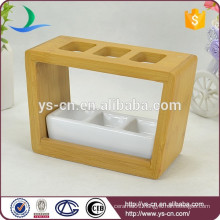 YSb40015-01-th Hot sale yongsheng white bathroom accessory set with wooden stand