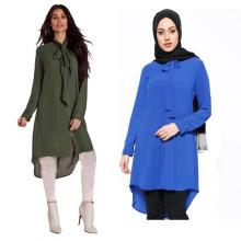 Plus la taille des vêtements en gros OEM ODM islamique fait sur commande à manches longues Blouse Top abaya femmes robe blouse musliim