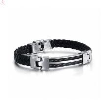 Bracelet en cuir fantaisie Mens, mode Jewley Bracelet en cuir pas cher chaîne à la main