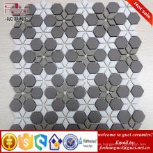 proveedor chino Nuevo azulejo de mosaico de cristal de diseño de parquet gris y blanco mezclado